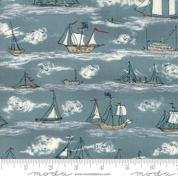 Ahoy Me Hearties 1432 Wave Ships. Designed by Janet Clare for Moda Fabrics.