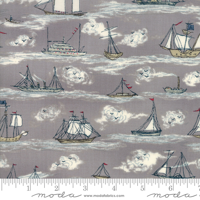 Ahoy Me Hearties 1432-13 Pebble. Designed by Janet Clare for Moda Fabrics.