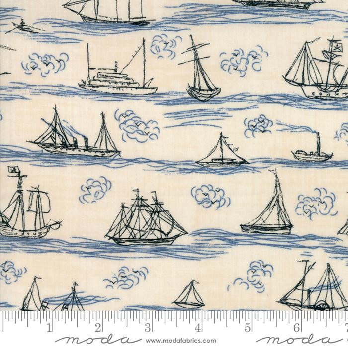 Ahoy Me Hearties 1432-18 Pearl Ocean Janet Clare Moda Fabrics